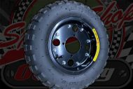 "Wheel. 8"". Pre built. Steel BLACK with tyre. Stock 3.50 x 8 Lan YU Feng"
