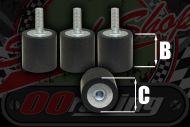 Rubber. Bobbin. Anti vibration mount 5,6,8mm options male & female fitting