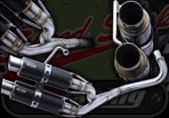 Exhaust. Complete. RG Race system. Single Side Twin Carbon and Stainless Steel System. Big bore. Suitable for use with Monkey Bikes