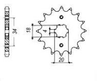 Sprocket. Front. 420 pitch. 20mm spline. 15T to 17T