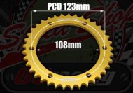Sprocket. Rear. 428 pitch. 37T. 108mm centre. Suitable for Madass 50cc