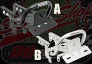 Rack. Grab rail. Steel. Choice of Black or Chrome. Includes number plate and light holder