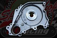 Starter motor mounting back plate underneath starter motors.