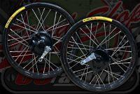 "Wheel kit 36 spoke black rims 17"" x 1.85 R 17"" x  1.60 F"
