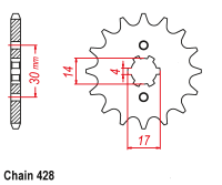 MSX 125 conversion sprocket to 428 pitch