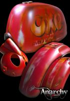 Body Kit. Suitable for Gorilla or Monkey style bikes. Retro Rust look hand Air brushed.